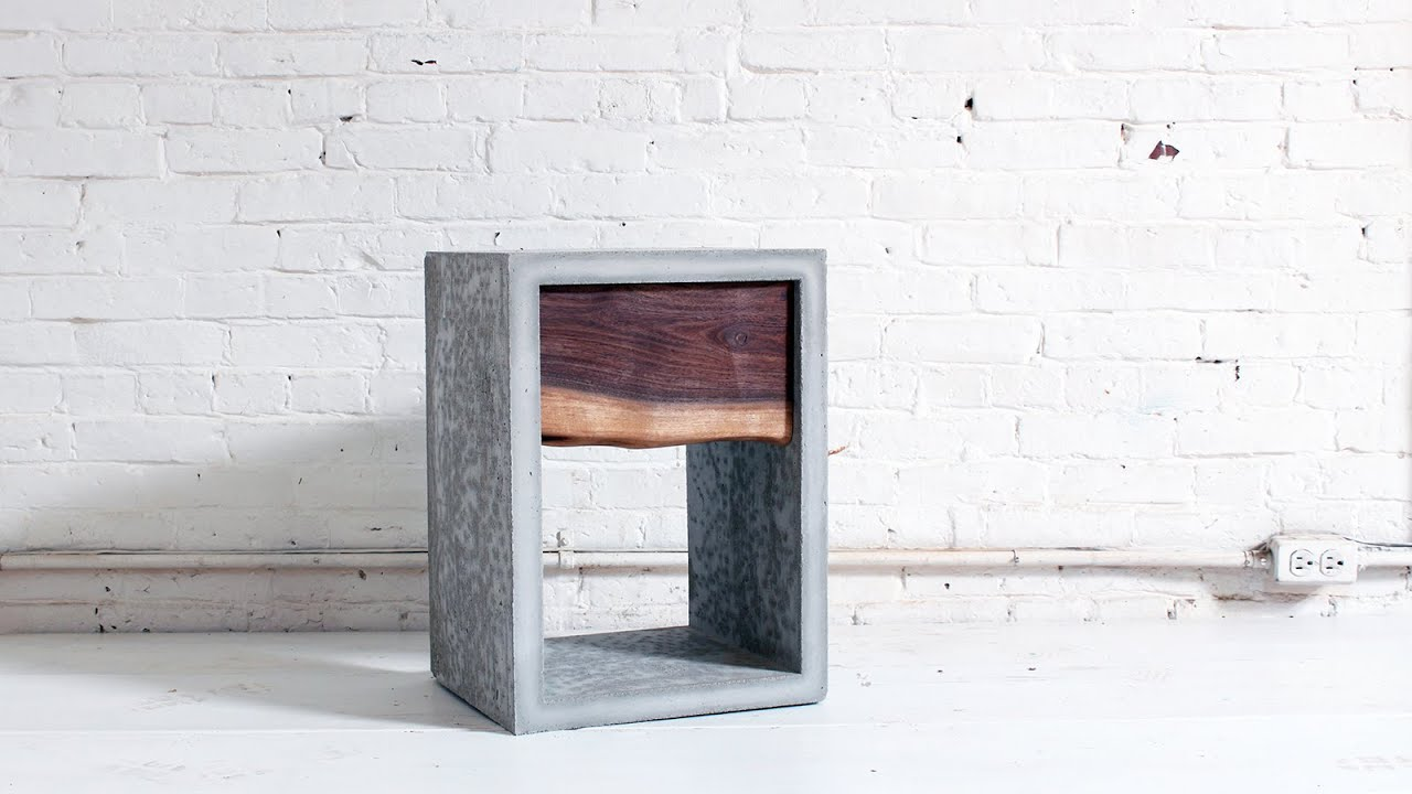 Concrete Nightstand with a Live Edge Walnut Drawer - YouTube