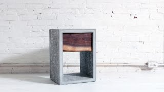 Concrete Nightstand With A Live Edge Walnut Drawer