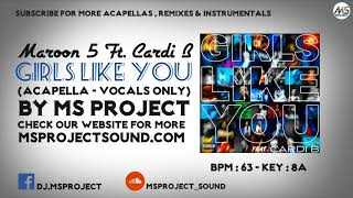 Download Lagu Maroon 5 Ft. Cardi B - Girls Like You (Acapella - Vocals Only) Mp3