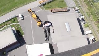 Would you jump off a 25 story building? Extreme crazy freestyle airbag stunt BAGJUMP Greg Roe