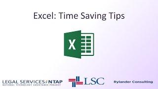 Excel: Time Saving Tips