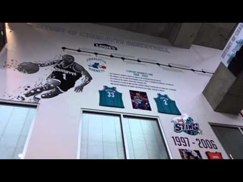 History of Charlotte Basketball display at the Spectrum Center