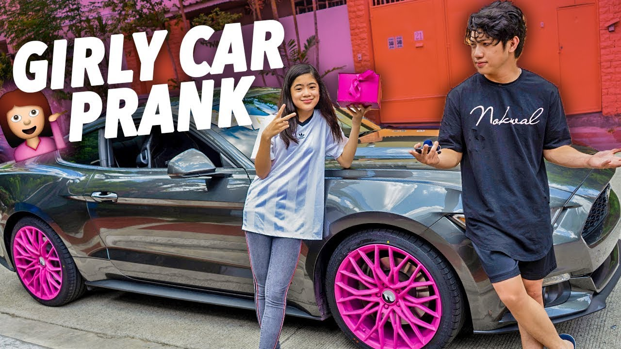 GIRLY CAR PRANK ON BROS MUSTANG!! | Ranz and Niana