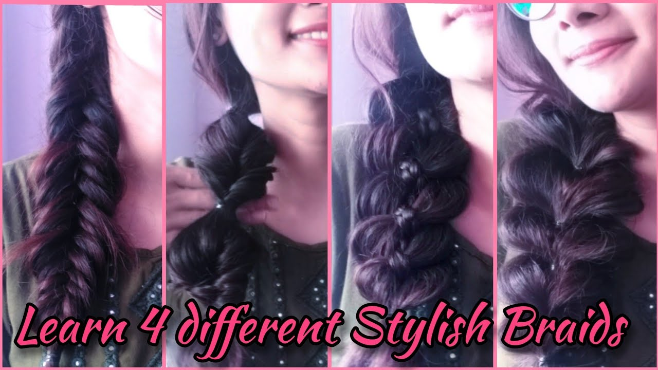 How to make Stylish Braids?♀️ (P-1)| Quick tutorial?♀️| Fishtail?Fauxtail?Fourstrand?Pull-through?