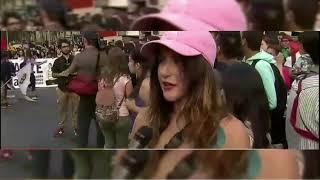 Marcha por el día de la Mujer en Santiago