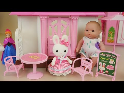 Rabbit baby doll house and cafe toys