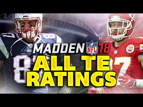 Madden NFL 18 Ratings: ALL TIGHT END RATINGS!