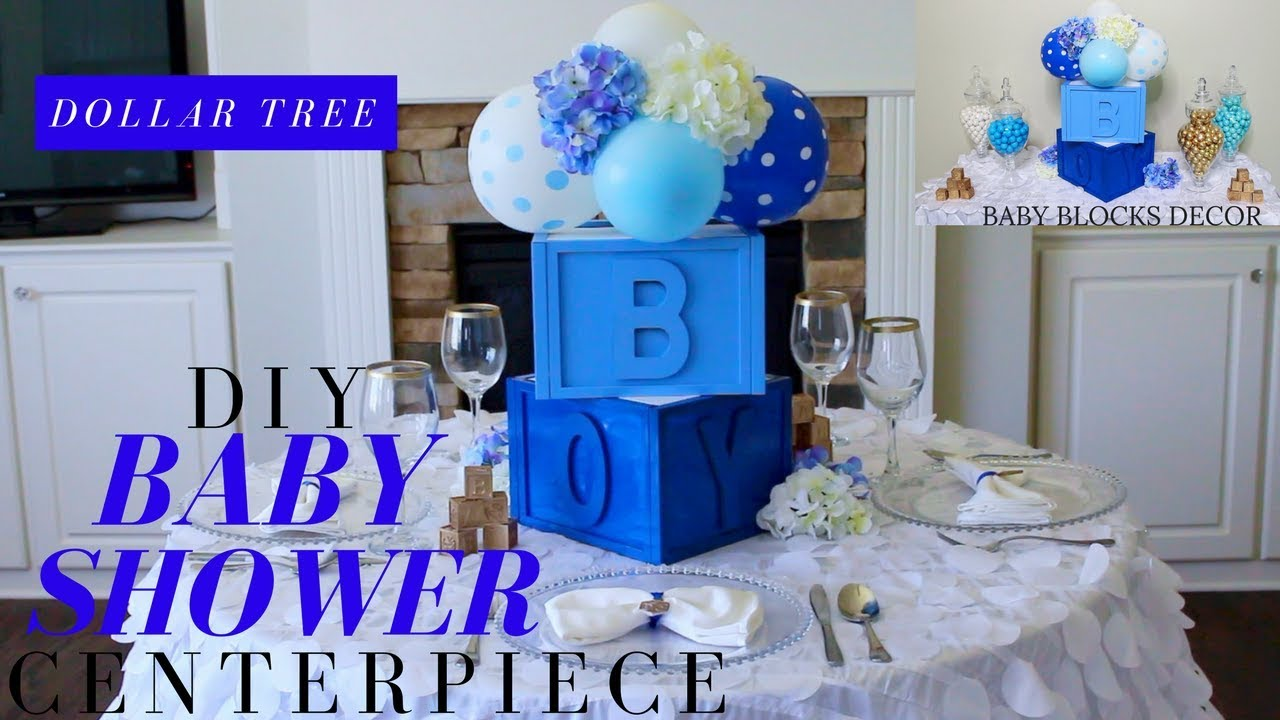 Dollar Tree Diy Baby Shower Decor Boy Centerpiece Blocks