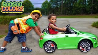 MY CAR IS STUCK! Goo Goo Gaga pretend play tow with Power Wheels