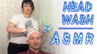 ASMR Head Washing | Woman Wash Bald Men Head