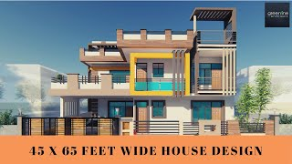 45 x 65  feet Modern House Design | 3D Elevation