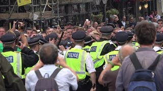 #FreeTommy Protest turns VIOLENT - Scuffles, Police Dogs and Riot Police!