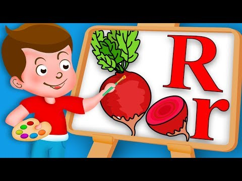 Drawing Alphabet R Letter with Radish fruit Drawing Paint And Colouring For Kids kids Drawing TV