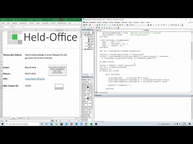 262: Excel-VBA: Stammdatenpflege in einer Mappe für alle Nutzer garniert mit einem hübschen ListView