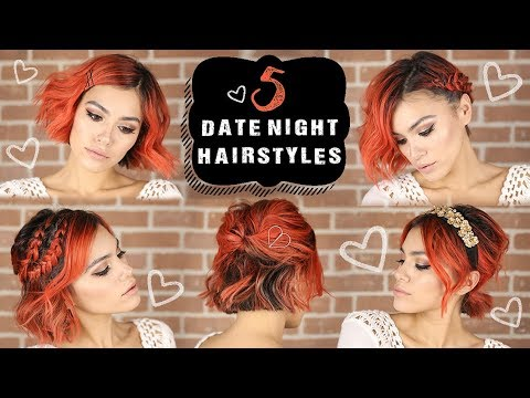 5 EASY Date Night Hairstyles for Short Hair | Valentine\'s Day - YouTube