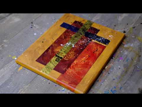 Abstract Painting Demonstration In Acrylics With Masking Tape And Texture