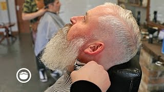 Low Fade for Thin Hair & Beard Trim Without Losing Length