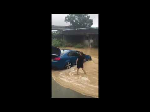 Car Gets Submerged by the Floodwaters in Queensland