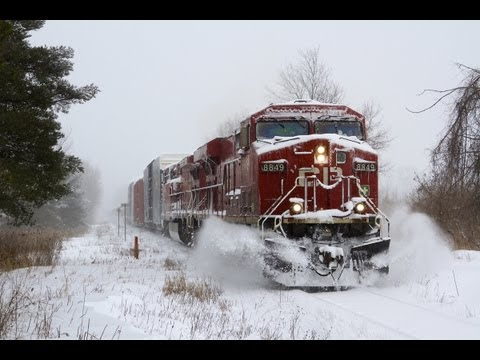 CP Trains in a Snow Storm [HD]