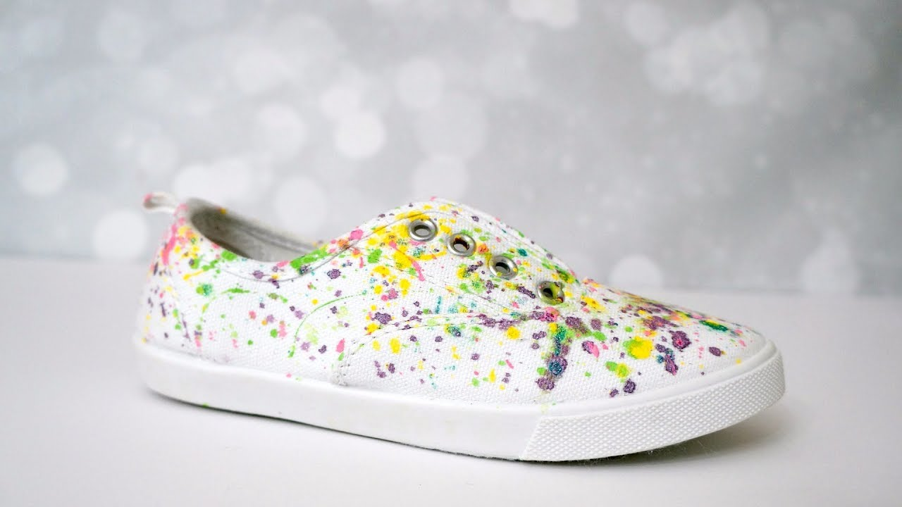 f82383e1f6a709 How to make paint splatter canvas shoes - YouTube