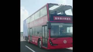 2018년 10월23일, 강주아오대교가 본격적으로 개통됐다. 중앙라디오텔레비전방송총국의 이층 버스가 강주아오대교(港珠澳大桥)에서 주행하는 첫번째...