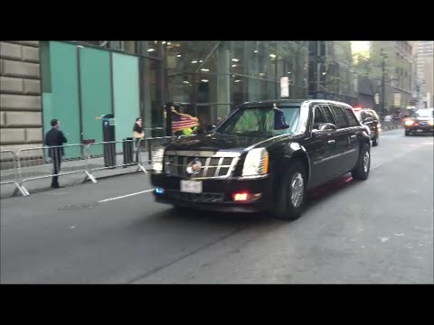 United States President Obama's Presidential Motorcade With U.S. Secret Service & NYPD In Manhattan