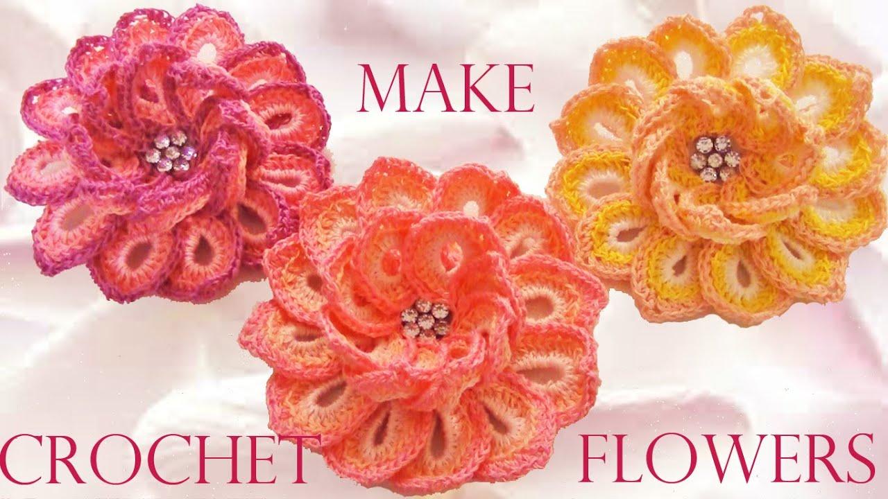 Flores para tejer a crochet solountipcom tapete redondo - Como hacer flores de ganchillo ...
