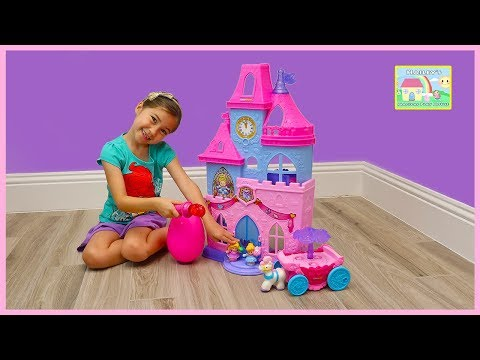 Disney Princess Castle Little People Pretend Play Magical Wand Unboxing Christmas Toys for Kids