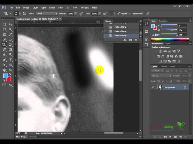 Adobe Photoshop cs6  36 - استخدام الأداة كلون باترن