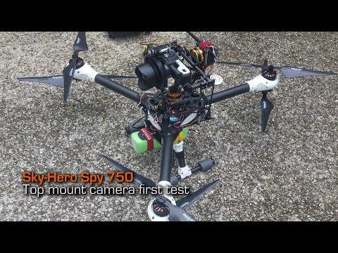 SkyHero Spy 750 drone camera mounted on top - freefly alta mode - skyview mode