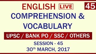 English comprehension / vocabulary - Session 45 of 2017. thumbnail