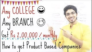 Earn Rs 2lakh per month | Any Btech College | Any Branch | How to get into Product Based Companies