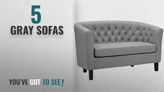 Top 10 Gray Sofas [2018 ]: Modway Prospect Upholstered Contemporary Modern Loveseat In Light Gray