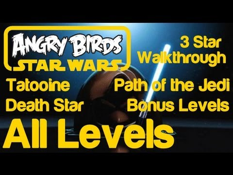 Angry Birds Star Wars - 3 Star Walkthrough All Levels (Tatooine, Death Star, Path of the Jedi, Bonus Levels Golden Droids)