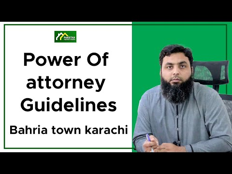 Power Of attorney Guidelines Bahria town karachi