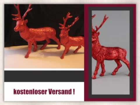 Weihnachtsdeko hirsch glitzerhirsch in rot gr n silber youtube - Weihnachtsdeko rot ...