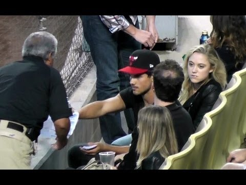 Taylor Lautner & Maika Monroe in Wrong Seats at Dodger Stadium  Dodger Game on May 24, 2013