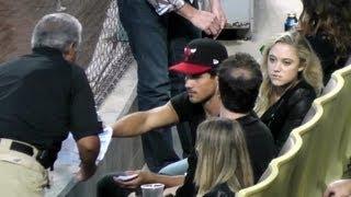 Taylor Lautner & Maika Monroe in Wrong Seats at Dodger Stadium - Dodger Game on May 24, 2013