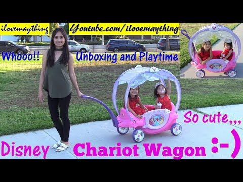 Little Girls' Toy Channel: A PINK Disney Chariot Wagon Ride-On by STEP 2. Disney Princesses