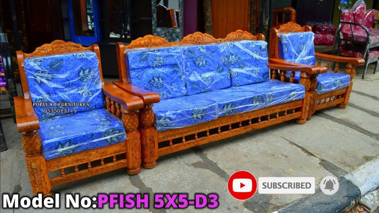 Pineapple Design Wood Sofa Set Model In Popular Furnitures Bangalore 16/10/2019 - YouTube