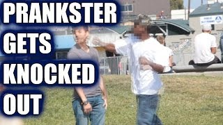 "PRANKSTER GETS KNOCKED OUT! - ""KISS MY ASS"" PRANK"