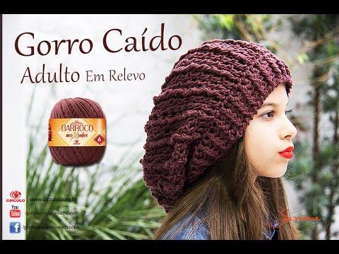 f326d4c516ce9 Gorro de Crochê Caído ADULTO em relevo - Professora Simone - YouTube