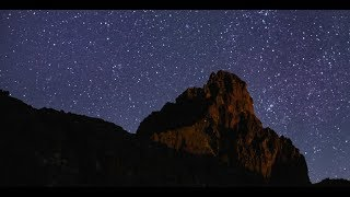 Mount Kenya under a Starlit Night Sky