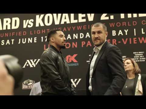"""Heated Andre Ward vs  Sergey Kovalev FACE OFF in Oakland, CA """"I will END YOUR CAREER!"""""""