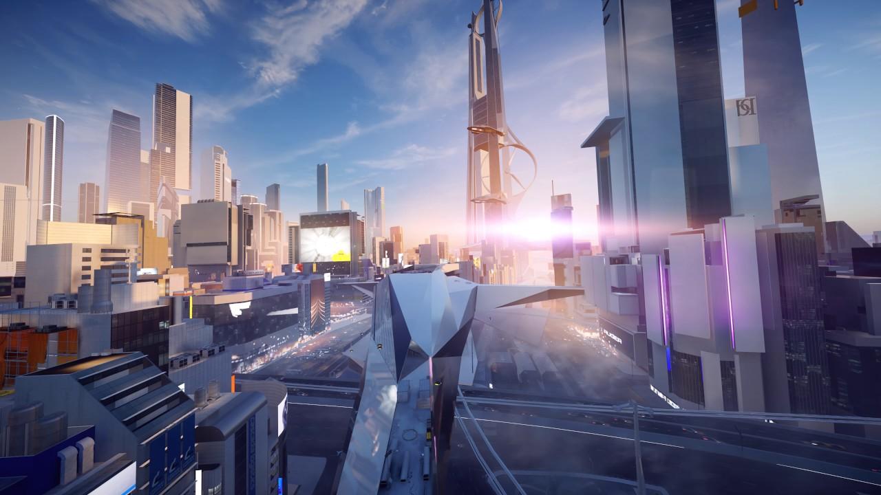 Futuristic City Ambience Sunset Mirror S Edge Catalyst 4k