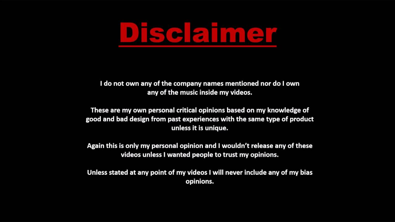 Disclaimer: My New Disclaimer Intro