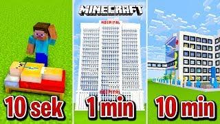 Minecraft BUDUJĘ SZPITAL W 10 SEKUND, 1 MINUTĘ I 10 MINUT!