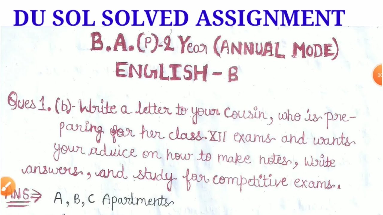 DU SOL SOLVED ASSIGNMENT B. A. Programme 9nd year ( ENGLISH -B)