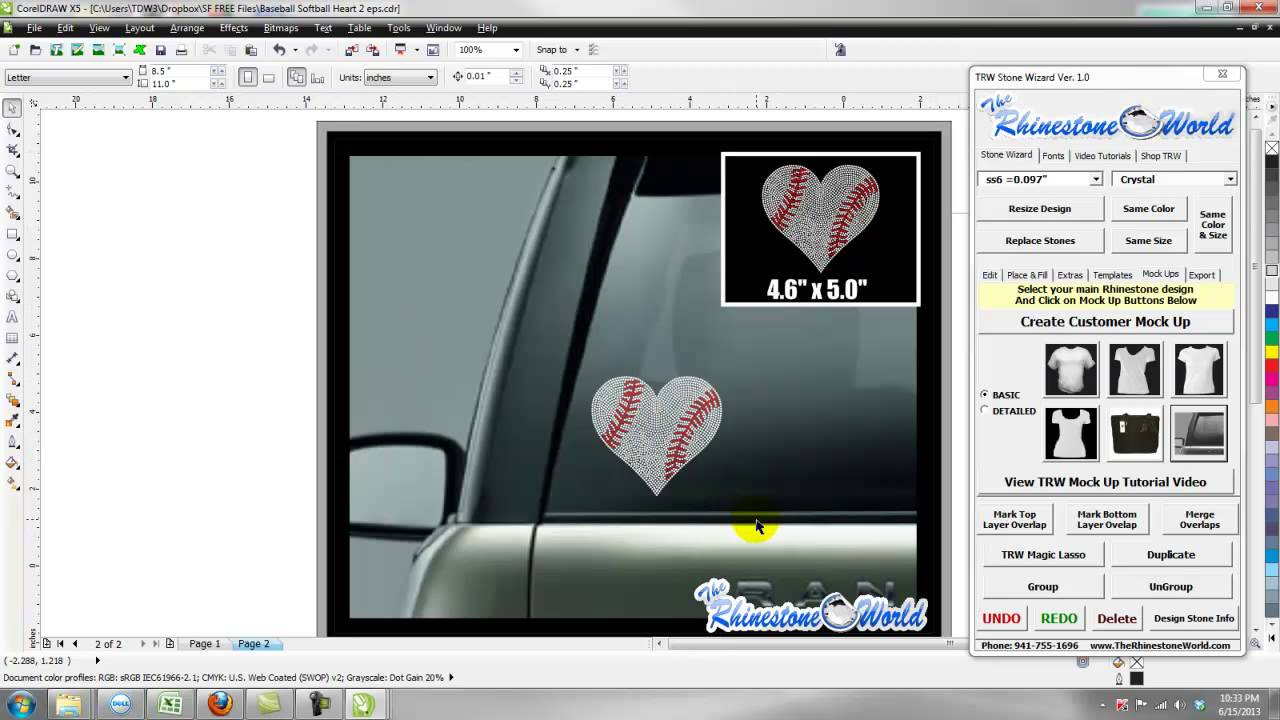 TRW Stone Wizard Tutorial  Making A Rhinestone Car Decal Mock Up - Decal graphics software