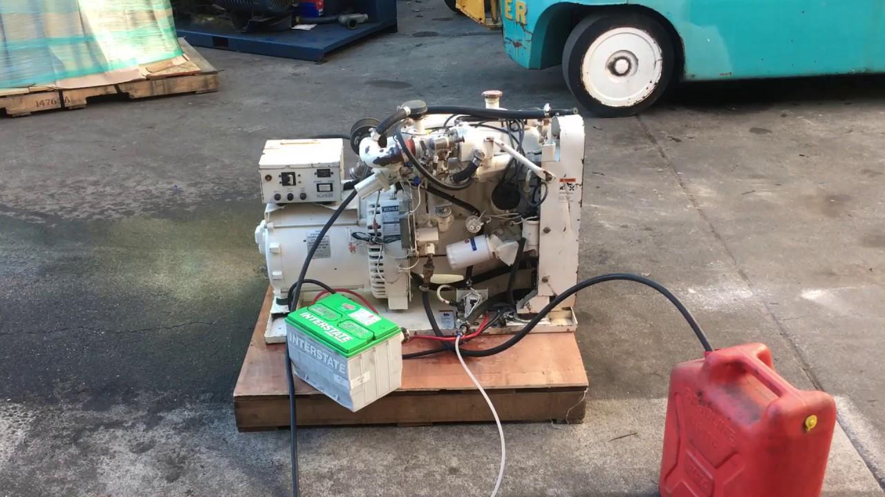 Kohler 12 Kw Marine Generator 4 Cylinder Gasoline Engine 120 240v 12 Kva Youtube